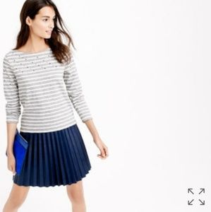 J. Crew Grey & White Striped Embellished Shirt Top